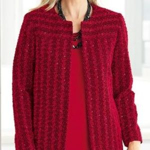 Alfred Dunner Red Sequin Jacket 18W